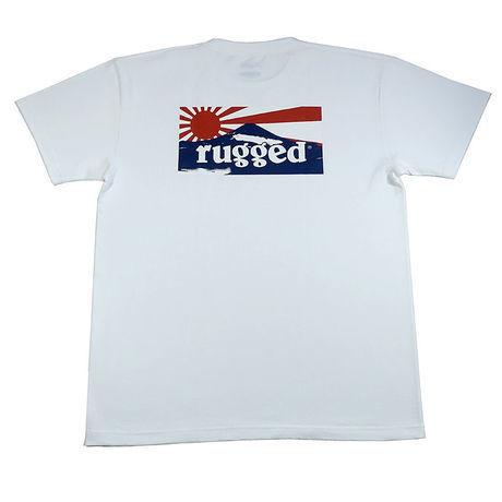 "RUGGED ""RISING SUN"" tee(White×Navy)"