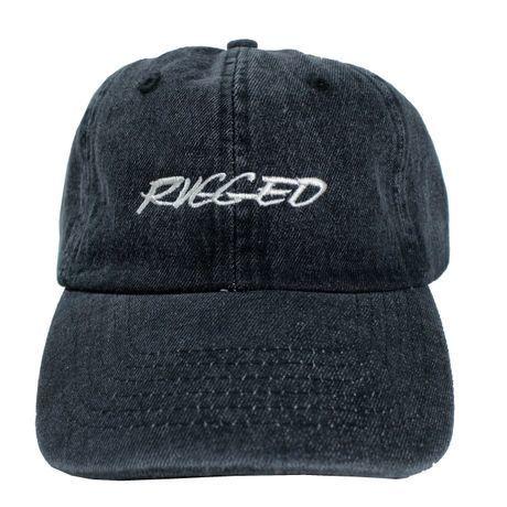 """RUGGED """"RACING LOGO"""" adjuster cap (Black Denim)"""