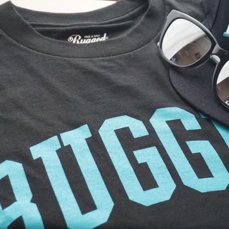 """RUGGED """"ARCH logo"""" tee(Black×Aqua)"""