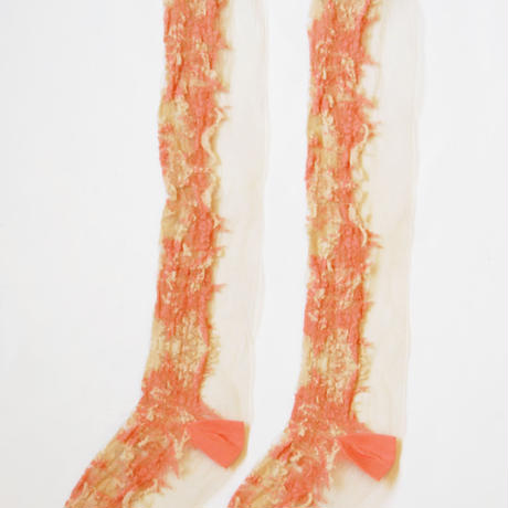 SHIROMA filament high socks -pink×beige-