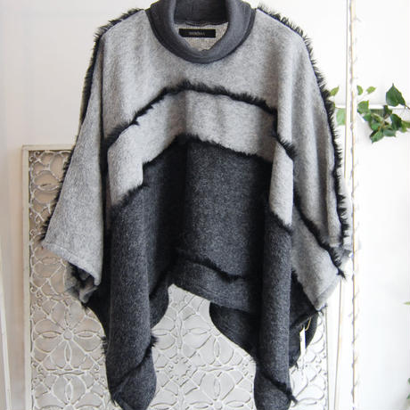 SHIROMA 16-17A/W DARK AGES fur fringe knit poncho -gray-