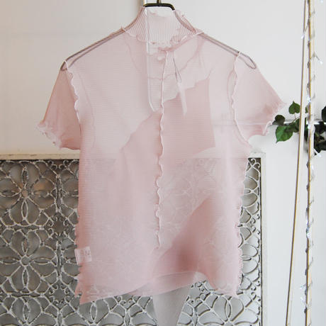 kotohayokozawa pleats see-through high neck top -pink-