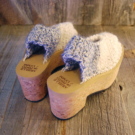 ARIELLE DE PINTO / LVMM slingback mules -blue on natural cork-