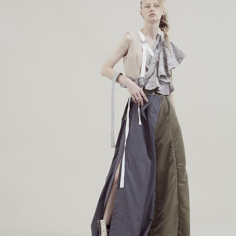 SHIROMA 20S/S mix tuck wide pants