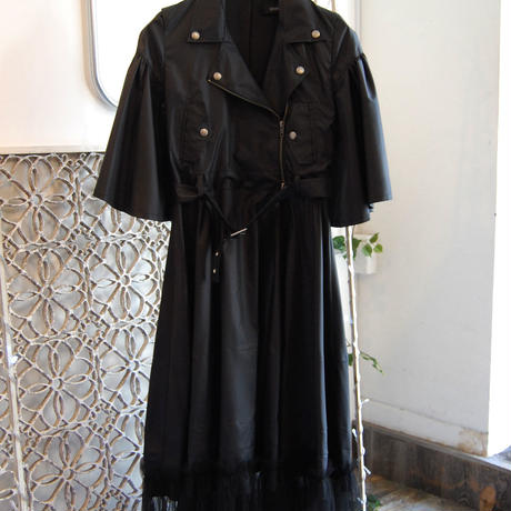 SHIROMA 17-18A/W Female punks nylon dress coat -black-