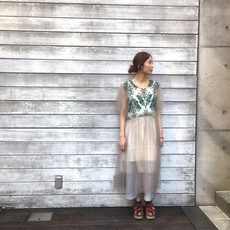 SHIROMA 17S/S BREAK embroidery tulle dress