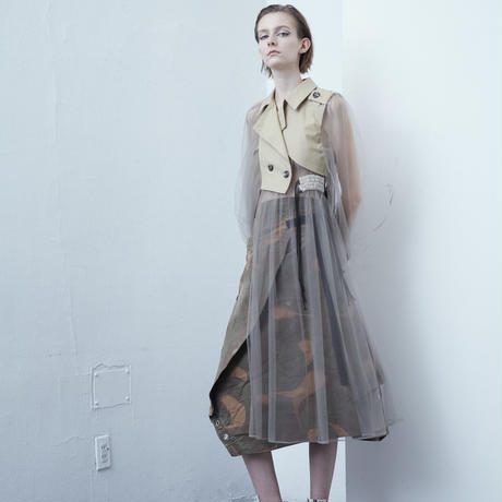 SHIROMA 20-21A/W tulle docking trench coat