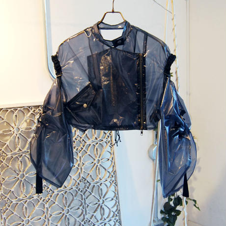 SHIROMA 19S/S off-shoulder rider's jacket (see-through)