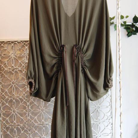 SHIROMA 16-17A/W DARK AGES gathers dress -khaki-