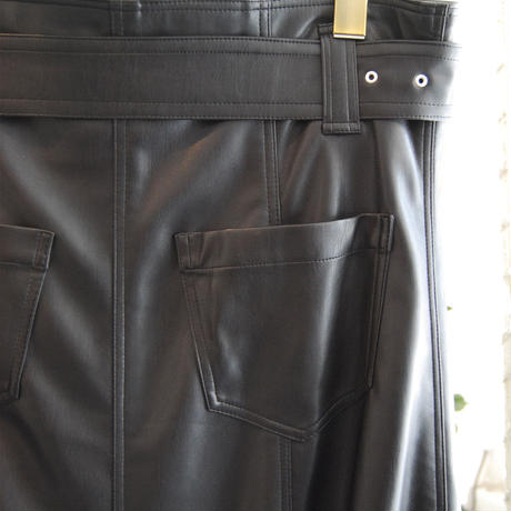 SHIROMA 20-21A/W Synthetic Leather vents skirt