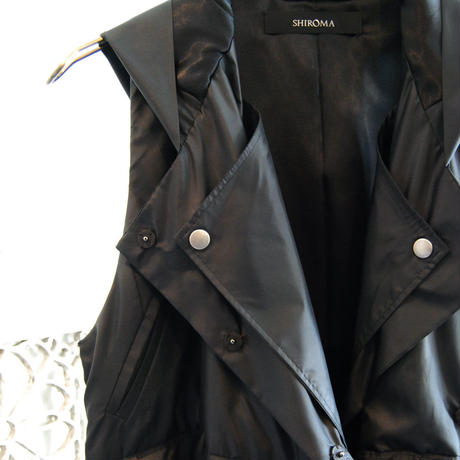 SHIROMA 17-18A/W Female punks nylon vest -black-