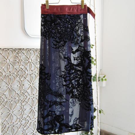 SHIROMA 20-21A/W flocky chiffon wrap skirt
