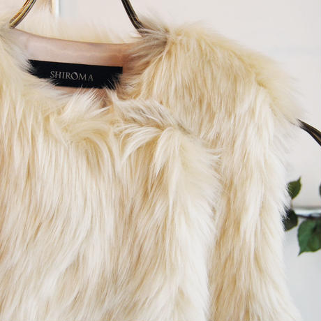 SHIROMA 16-17A/W DARK AGES fur vest -beige-