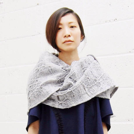 SHIROMA 15-16A/W ghost jacquard stole -gray-