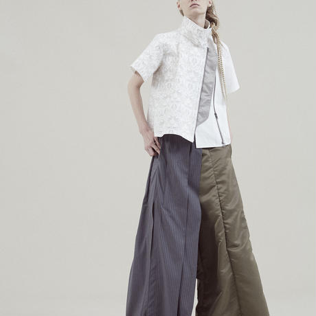 SHIROMA 20S/S lace high-necked shirt
