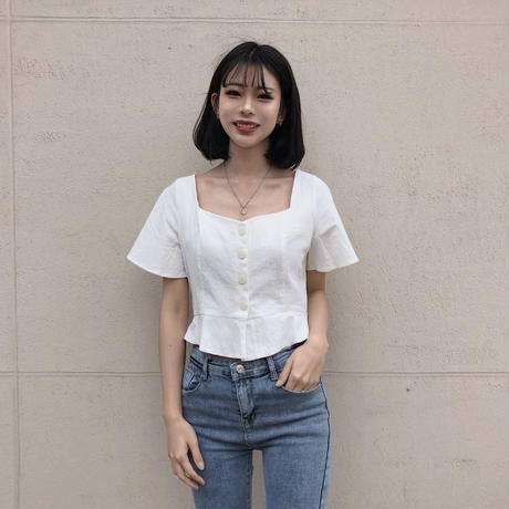 《予約販売》front button square blouse