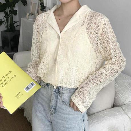 《予約販売》race collar blouse