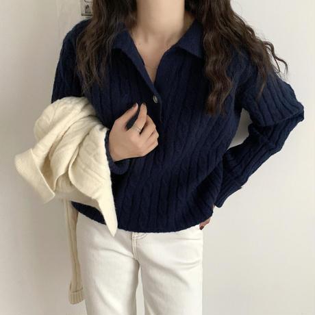 《予約販売》cable open collar knit (3color)