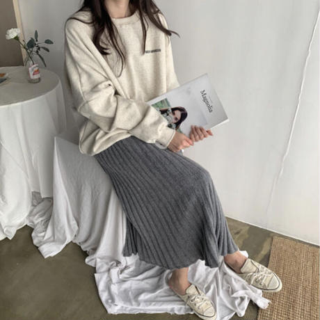 《予約販売》knit pleats skirt (4color)