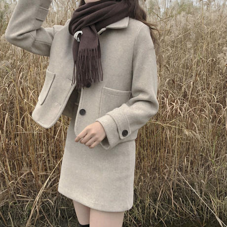 《予約販売》short wool blend jacket two-piece setup