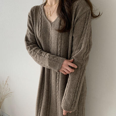 《予約販売》lose fit  long wool one-piece