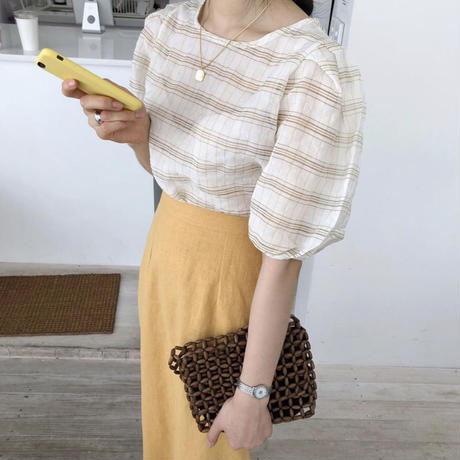 《予約販売》check puff sleeve blouse