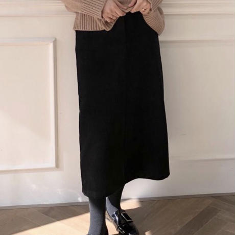 《予約販売》corduroy front slit long skirt
