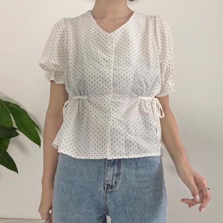《予約販売》side ribbon dot blouse