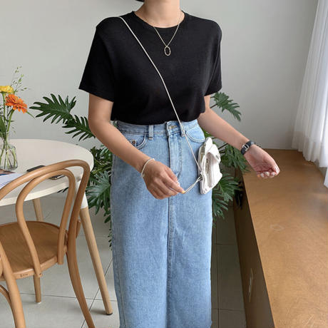 《予約販売》back slit H line long denim skirt
