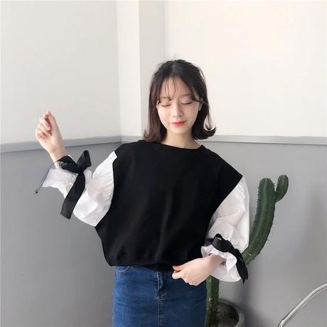 リボン付バルーンスリーブシャツ ブラック
