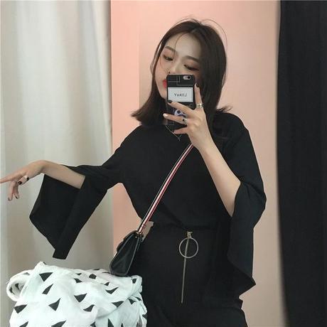 スリットスリーブシャツ ブラック