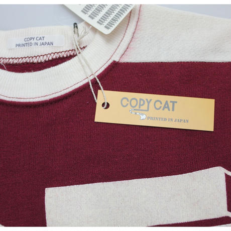 COPY CAT   -コピーキャット-  OLD SHORT SLEEVE SWAET  WINE×WHITE - size S -