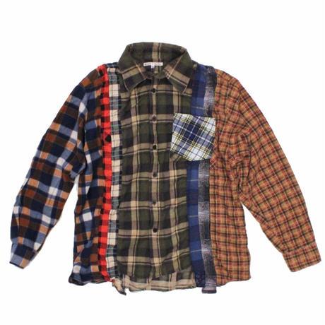Rebuild by Needles 7 CUT Flannel Shirt KHAKI - M size