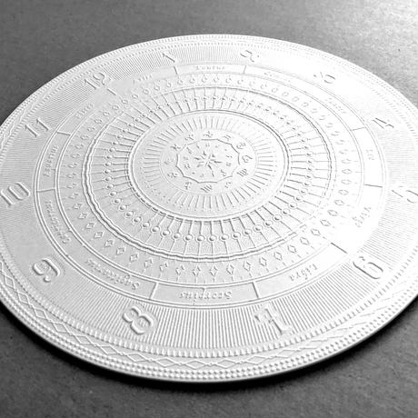 『 月読時計 』 型押し大判コースター