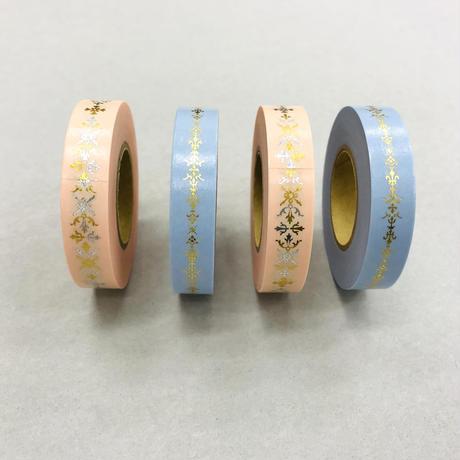【 32セット限定 】 花形装飾活字 箔押しマスキングテープ 『 HAZAI 』 Type-003+004