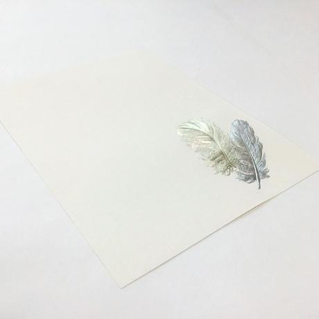 【 箔押し究極羽根表現 】 箔便箋 『 白鳥・黒鳥 』