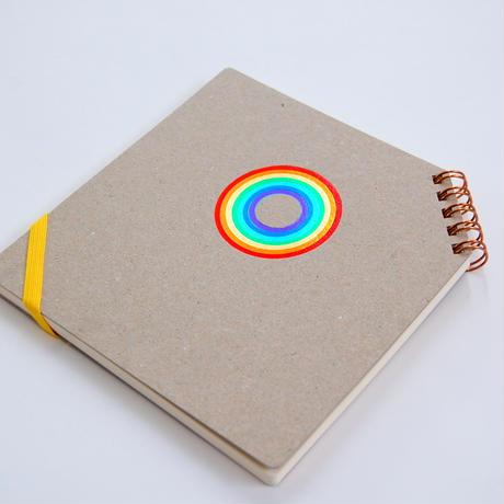 箔押し7色押し 『 虹 』 正方形ななめリングノート | 2018年8月27日以降出荷分