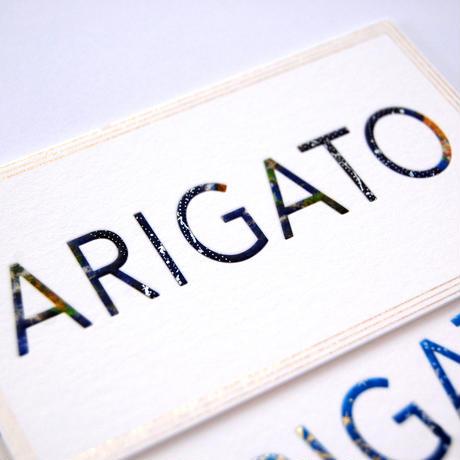 【 テープスタンピング 】 メッセージカード 「 ARIGATO 」 「 OMEDETO 」 - 箔押しマスキングテープ編 -
