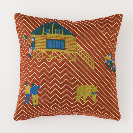snip snap SATOYAMA cushion cover | bear red