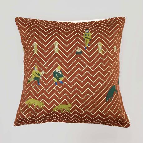 (no pattern backside) snip snap SATOYAMA cushion cover   fox red裏面無地