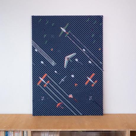 《一点もの》SNIP SNAP SKY night | fabric art panel
