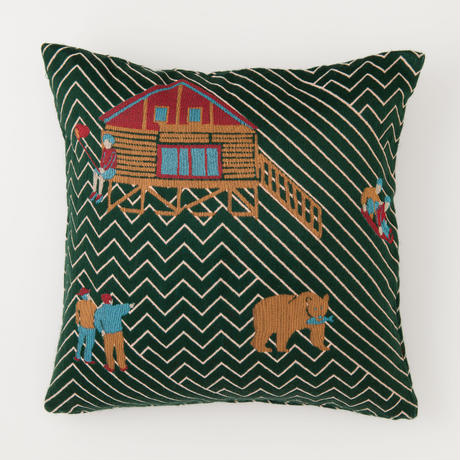 snip snap SATOYAMA cushion cover | bear green