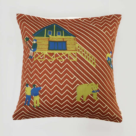 (no pattern backside) snip snap SATOYAMA cushion cover   bear red裏面無地
