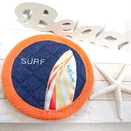 刺繍&サーフボードコースター (SURF オレンジ)