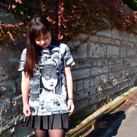 あざみ総柄Tシャツ-WHITE×BLACK-