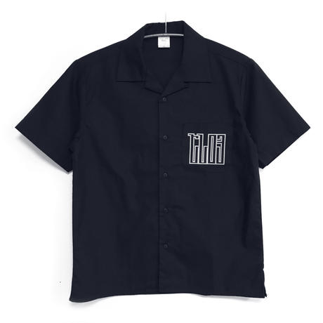Cyberia_Layer:03 オープンカラーシャツ-NAVY-