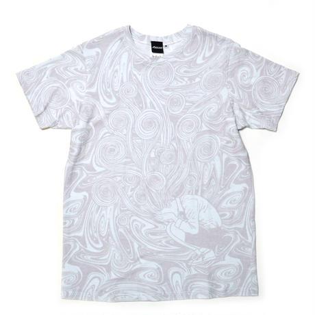 桐絵うずまき総柄Tシャツ-WHITE×GRAY-