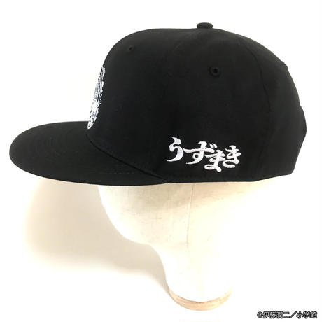 うずまき あざみ刺繍キャップ-BLACK-