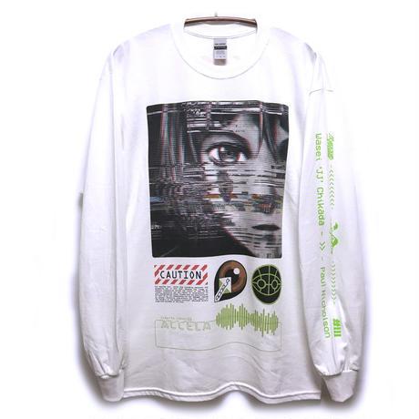 【NUMBER 3】GlitchロングスリーブTシャツ-WHITE-