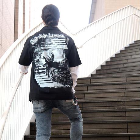 Cyberia_Layer_2 オープンカラーシャツ-BLACK-